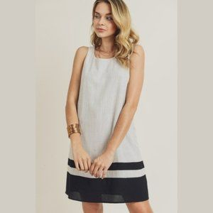 Striped Woven Shift Dress w/ Color Block H…
